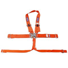 "RJS SFI 16.1 L&L HARNESS 3"" PULL DOWN LAP BELT 3"" SHOULDER HARNESS ""V"" ROLL BAR MOUNT 2"" DOUBLE SUB ALL WRAP ENDS ORANGE"