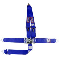 "RJS SFI 16.1 L&L HARNESS 3"" PULL DOWN LAP BELT 3"" SHOULDER HARNESS ""V"" ROLL BAR MOUNT 3"" SINGLE SUB ALL BOLT ENDS BLUE"
