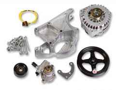 HLY-20-143 HOLLEY LS ALTERNATOR -AND- POWER STEERING PUMP ACCESSORY DRIVE KIT - DRIVER'S SIDE BRACKET - INCLUDES ALTERNATOR