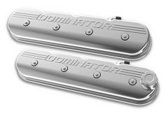 """HOLLEY ALUMINUM GM LS TALL VALVE COVERS WITH """"DOMINATOR"""" LOGO POLISHED FINISH HLY 241-119"""