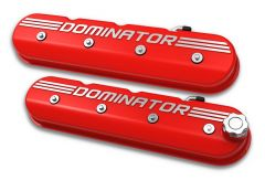 """HOLLEY ALUMINUM GM LS TALL VALVE COVERS WITH """"DOMINATOR"""" LOGO GLOSS RED FINISH HLY 241-121"""