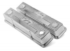 HOLLEY M/T LOGO VALVE COVERS FOR CHEVY SMALL BLOCK ENGINES POLISHED HLY 241-82