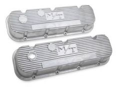 HOLLEY VINTAGE FINNED M/T LOGO VALVE COVERS FOR BIG BLOCK CHEVY ENGINES NATURAL AS CAST FINISH HLY 24187