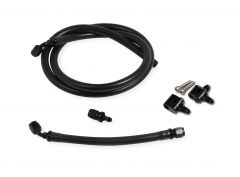 HLY 26-550 HOLLEY LS STEAM TUBE KIT W/BLACK PUSH-ON HOSE BLACK ALUMINUM HOSE ENDS & ADJUSTABLE STEAM VENT ADAPTERS FOR THE FRONT OUTLETS ON THE ENGINE