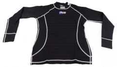 RJS RACING UNDERWEAR SFI 3.3 FR UNDERGARMENT BLACK WITH WHITE STITCHING TOP SHIRT