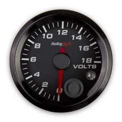 "HOLLEY EFI VOLTAGE GAUGE - 2-1/16"" SIZE, BLACK, HLY 553-126"