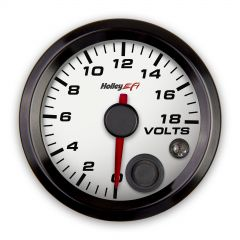 "HOLLEY EFI VOLTAGE GAUGE - 2-1/16"" SIZE, WHITE, HLY 553-126W"