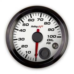 "HOLLEY EFI OIL PRESSURE GAUGE - 2-1/16"" SIZE, WHITE, HLY 553-127W"