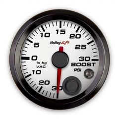 "HOLLEY EFI VACUUM/BOOST GAUGE Standard 2-1/16"" size-30"" Hg-30 PSI CAN White Face-Black Bezel,HLY553-130W"