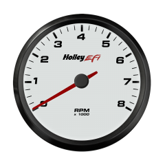 "HOLLEY EFI CAN TACHOMETER - 3-3/8"" 0-8K RPM RANGE, WHITE FACE, HLY 553-146W"