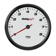 "HOLLEY EFI CAN TACHOMETER - 4-1/2"" 0-8K RPM RANGE, WHITE FACE, HLY 553-147W"