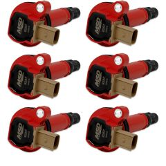 MSD 82576 IGNITION COIL 2010-2016 FORD 3.5L V6 ECOBOOST ENGINES, RED, 6-PACK (3-PIN CONNECTOR)