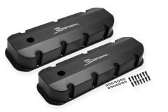 Sniper Fabricated Aluminum Valve Cover - 1965-2000 Chevy Big Block - Black Finish, SNE 890004B