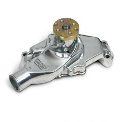 """Weiand Action Plus Aluminum Water Pump w/ """"Twisted Snout"""" design,Chevrolet Small Block Short Polished Finish,HLY9208P"""