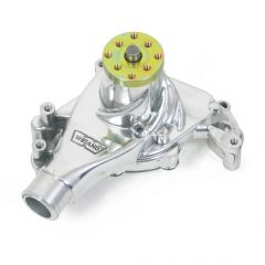 """Weiand Action +Plus Aluminum Water Pump w/ """"Twisted Snout"""" design - Chevrolet Small Block Long, Polished Finish"""
