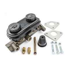 "STRANGE DUAL MASTER CYLINDER - 1.125"" BORE - INCLUDES DUST BOOT, PUSHROD, FITTINGS, & REINFORCING PLATES"