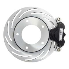 STRANGE PRO SERIES SPINDLE MOUNT BRAKE KIT - FOR SANTHUFF STRUTS WITH FORGED OR BILLET WHEELS SINGLE PISTON CALIPERS & ONE PIECE SLOTTED ROTORS