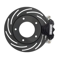 STRANGE PRO SERIES SPINDLE MOUNT BRAKE KIT - FOR STRANGE ALUMINUM STRUTS WITH FORGED OR BILLET WHEELS SINGLE PISTON CALIPERS & ONE PIECE SLOTTED ROTORS