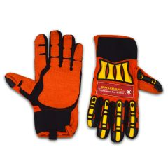 BUTLERBUILT RUBBERIZED CREW GLOVES - ORANGE/YELLOW