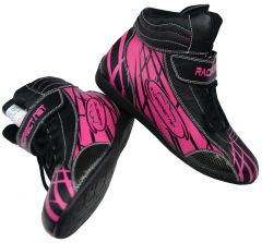 RACERDIRECT PINK YOUTH RACING DRIVING SHOES SFI 3.3/5 LEATHER COOL GRAPHICS