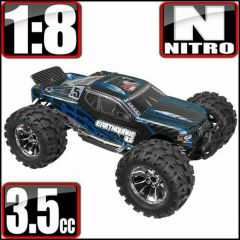 REDCAT RACING RC TRUCK EARTHQUAKE 3.5 1/8 SCALE NITRO MONSTER TRUCK BLUE