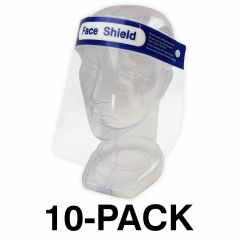 FACE SHIELD, LIGHTWEIGHT & FLEXIBLE - 10-PACK