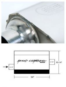 "Hooker Aero Chamber Muffler Single 2-1/4"" Offset Inlet Single 2-1/4"" Center Outlet , 21501HKR"