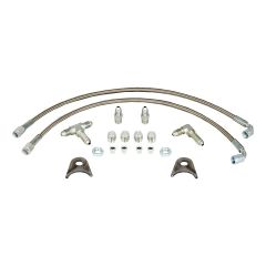 STRANGE DRAG RACE DOOR CAR FRONT PLUMBING KIT WITH 3 AN BRAIDED STAINLESS STEEL LINES & FITTINGS