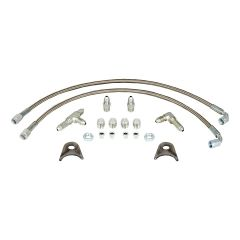 STRANGE DRAG RACE DOOR CAR REAR PLUMBING KIT WITH 3 AN BRAIDED STAINLESS STEEL LINES & FITTINGS