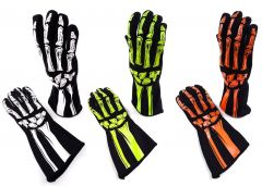 RJS RACING SFI 3.3/5 DOUBLE LAYER SKELETON NOMEX FIRE RETARDANT RACING GLOVES XXS TO 2XL