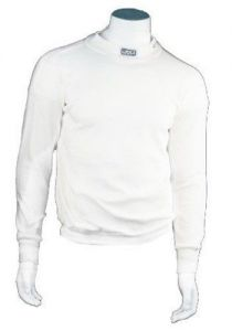 RJS RACING UNDERWEAR SHIRT SFI 3.3 APPROVED UNDERGARMENT TOP WHITE