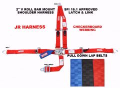JR DRAGSTER RACING HARNESS LATCH & LINK 2 SFI 16.1 V MOUNT RED CHECKERBOARD