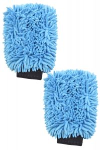 2 PACK SUPER JUMBO MICROFIBER CAR WASH CLEANING CHENILLE MITT GLOVES