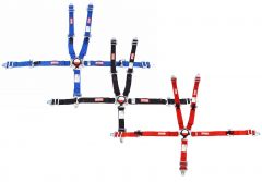"""RACERDIRECT UNIVERSAL JR RACING HARNESS 2"""" SFI 16.1 CAM LOCK , INDIVIDUAL ROLL BAR MOUNT, PULL UP LAP BELTS, BOLT-IN RED CHECKERBOARD"""