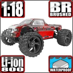 REDCAT RACING VOLCANO 18 V2 RC MONSTER TRUCK 1/18 SCALE RED BRUSHED MOTOR AND ESC