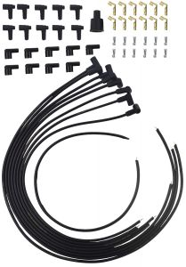 RACERDIRECT RDN S4603B UNIVERSAL HIGH ENERGY SPIRAL CORE SPARK PLUG WIRES BLACK 8.5 MM 90 DEG. PLUG BOOTS