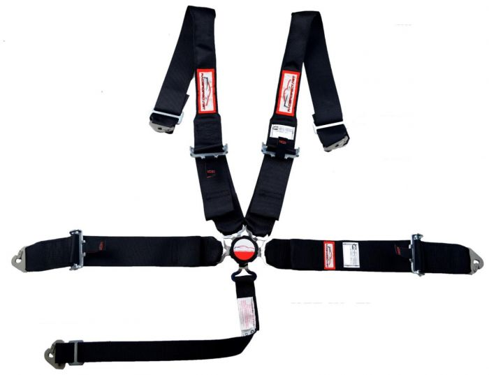 Racerdirect Four Point Racing Buggy Harness Pull Down Lap Belts Push Button Buckle ROLL BAR Mount Harness Black