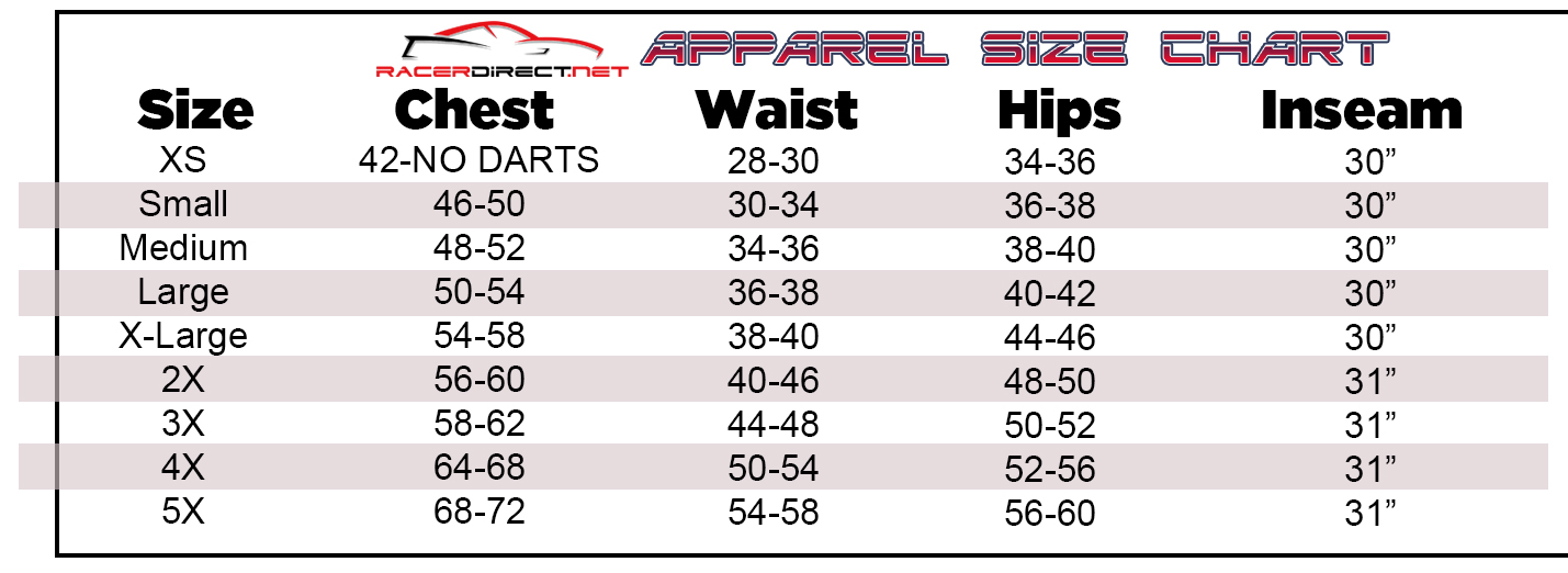 RDN APPAREL SIZING CHART