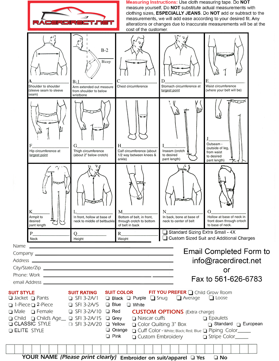 RDN CUSTOM SUIT FORM